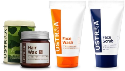 Ustraa By Happily Unmarried Face Scrub For outdoor Men (100 gm) Hair Wax for Men (100 gm) Face Wash its Bad Ass Sexy for Men (100 gm)(Set of 3)