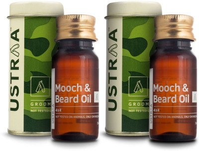 Ustraa By Happily Unmarried Mooch and Beard Oil 4X4 - Set of 2 for Men (70 ml)(Set of 2)