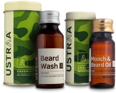 Ustraa By Happily Unmarried Mooch and Beard Oil 4x4 For Men (35 ml) Beard Wash for Men (60 ml)(Set of 2)
