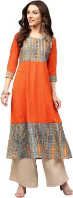 Libas Women Solid Anarkali Kurta(Orange)