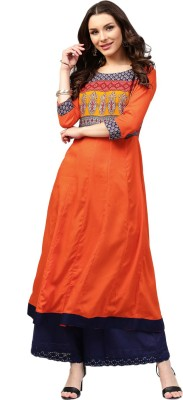 Libas Women Solid Anarkali Kurta(Orange)