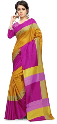 AJS Self Design, Striped, Printed Paithani Polycotton Saree(Yellow, Pink)  available at flipkart for Rs.799