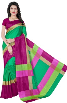 AJS Self Design, Striped, Printed Paithani Polycotton Saree(Green, Pink)  available at flipkart for Rs.799