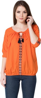 AANIA Casual 3/4th Sleeve Embroidered Women Orange Top AANIA Tops