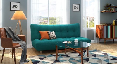 Urban Ladder Palermo Sofa Cum Bed Double Engineered Wood Sofa Bed(Finish Color - Blue Mechanism Type - Fold Out)  available at flipkart for Rs.22999
