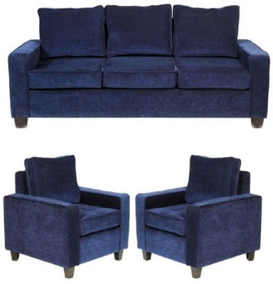 GIOTEAK Fabric 3 + 1 + 1 Blue Sofa Set