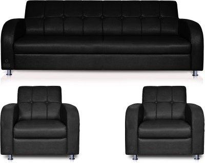 Dolphin Leatherette 3 + 1 + 1 Black Sofa Set(Configuration - Straight)