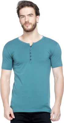 Tinted Solid Men Henley Green T-Shirt