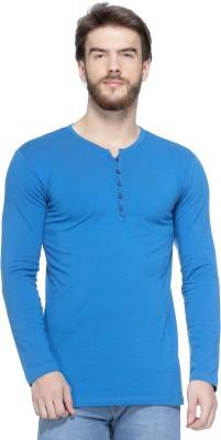 Tinted Solid Men Henley Blue T-Shirt