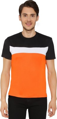 Imagica Solid Men Round Neck Orange, Black T-Shirt  available at flipkart for Rs.293