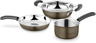 Ideale Cookware Set Texture Brown 3pcs Induction Bottom Cookware Set Stainless Steel, 3   Piece Ideale Cookware Sets
