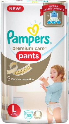 Pampers Premium Care L Diapers (58 Pieces)
