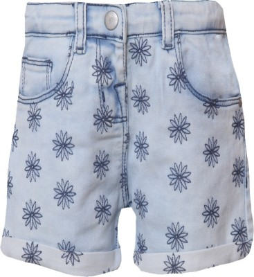 Tales & Stories Short For Girls Casual Embriodered Denim(Light Blue, Pack of 1)