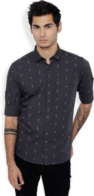 Highlander Men Printed Casual Grey Shirt