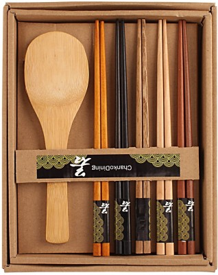 HOKIPO 5 Pairs Wooden Chopsticks with Rice Serving Spoon Bamboo Cutlery Set  available at flipkart for Rs.269