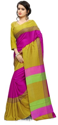 AJS Self Design, Striped, Printed Paithani Polycotton Saree(Pink, Yellow)  available at flipkart for Rs.799