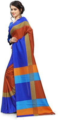 AJS Self Design, Striped, Printed Paithani Polycotton Saree(Blue, Red)  available at flipkart for Rs.899
