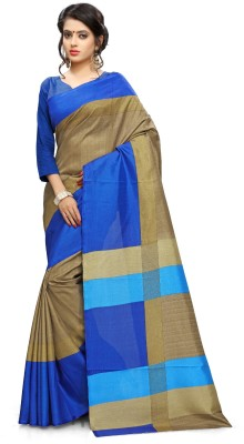AJS Self Design, Striped, Printed Paithani Polycotton Saree(Blue, Gold)  available at flipkart for Rs.799
