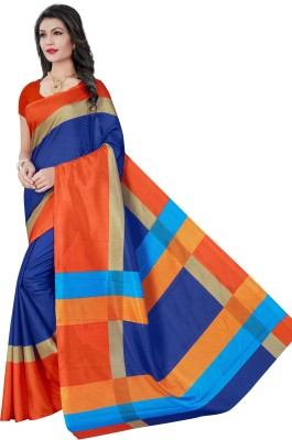 AJS Self Design, Striped, Printed Paithani Polycotton Saree(Orange, Blue)  available at flipkart for Rs.799