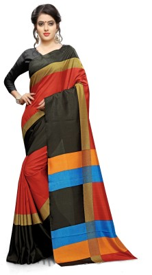 AJS Self Design, Striped, Printed Paithani Polycotton Saree(Black, Red)  available at flipkart for Rs.799