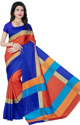 AJS Self Design, Striped, Printed Paithani Polycotton Saree(Blue, Pink)  available at flipkart for Rs.799