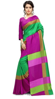 AJS Self Design, Striped, Printed Paithani Polycotton Saree(Pink, Green)  available at flipkart for Rs.799