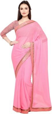 AJS Applique, Solid Rajshahi Georgette Saree(Pink)