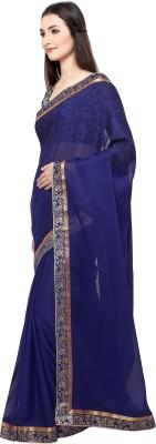 AJS Applique, Solid Rajshahi Georgette Saree(Dark Blue)