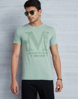 Metronaut Printed Men Round or Crew Green T-Shirt at flipkart
