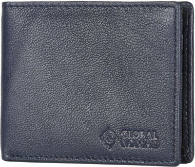 Global Nomad Men Blue, Black Genuine Leather Wallet(8 Card Slots) at flipkart