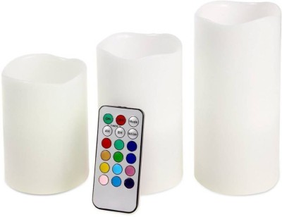 H D Enterprise Remote Controlled Multicolor LED Tealight Candles Candle(White, Pack of 3)