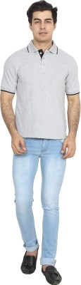 BrandTrendz Solid Men's Polo Neck Grey T-Shirt