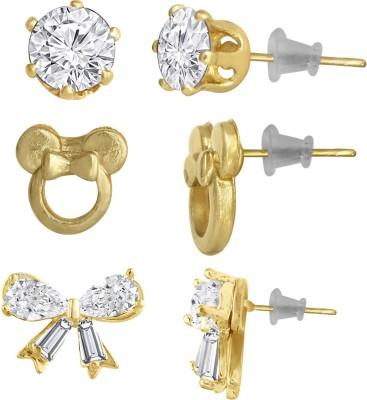 Spargz Gold Plated Butterfly Flower Multi-Shaped AD Stone 3 Pair Set For Women & Girls Diamond Alloy Stud Earring at flipkart