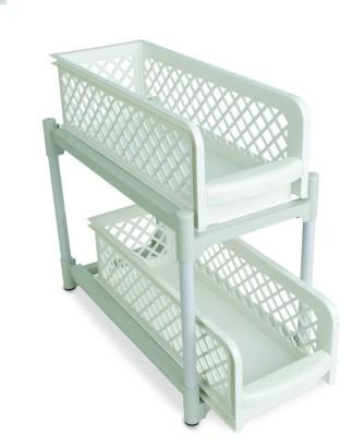CheckSums 13943 Portable 2 Tier Basket Drawers Organizes-Multicolor Plastic Kitchen Rack(Multicolor) at flipkart