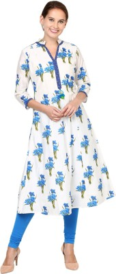 Shakumbhari Floral Print Women A-line Kurta(Blue)