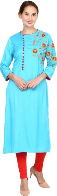 Shakumbhari Embroidered Women Straight Kurta(Blue)