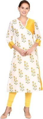 Shakumbhari Floral Print Women A-line Kurta(Yellow)