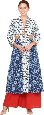 Shakumbhari Floral Print Women Flared Kurta(Blue)