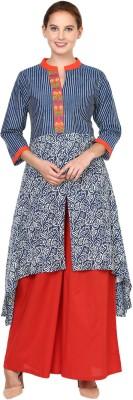 Shakumbhari Printed Women Frontslit Kurta(Blue)