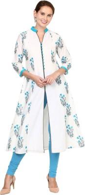 Shakumbhari Floral Print Women Frontslit Kurta(Blue)