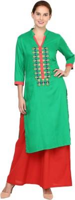 Shakumbhari Embroidered Women Straight Kurta(Green)