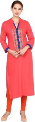 Shakumbhari Embroidered Women Straight Kurta(Pink)