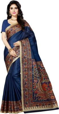 Rani Saahiba Printed Kalamkari Art Silk Saree(Dark Blue, Maroon)