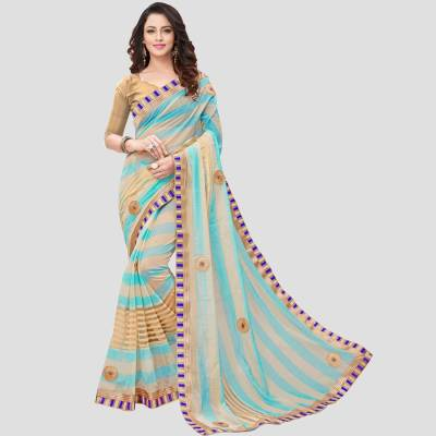 BAPS Embroidered, Solid, Self Design Bollywood Silk Cotton Blend Saree