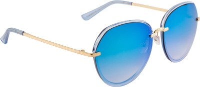 Farenheit FA-79154-C92 Round Sunglasses(Blue) at flipkart