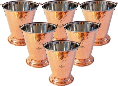 Indian Craft Villa Handmade Traditional Set Of 6 Copper Steel Serving Curry Dal Gravy Bucket Capacity 350 ML for a Vegetable Dish serving Restaurant Ware Hotel Ware Home Gift Item Cookware Set(Copper, at flipkart