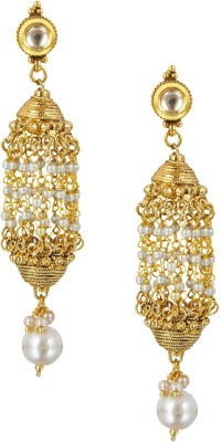 Shining Jewel Original & Authentic Temple Pearl Brass Chandelier Earring  available at flipkart for Rs.571