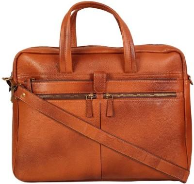 Hidekin 16 inch Expandable Laptop Messenger Bag Tan Hidekin Laptop Bags