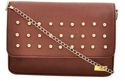 Yelloe Women Tan PU Sling Bag at flipkart