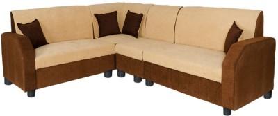 GIOTEAK Fabric 6 Seater  Sofa(Finish Color - Brown)